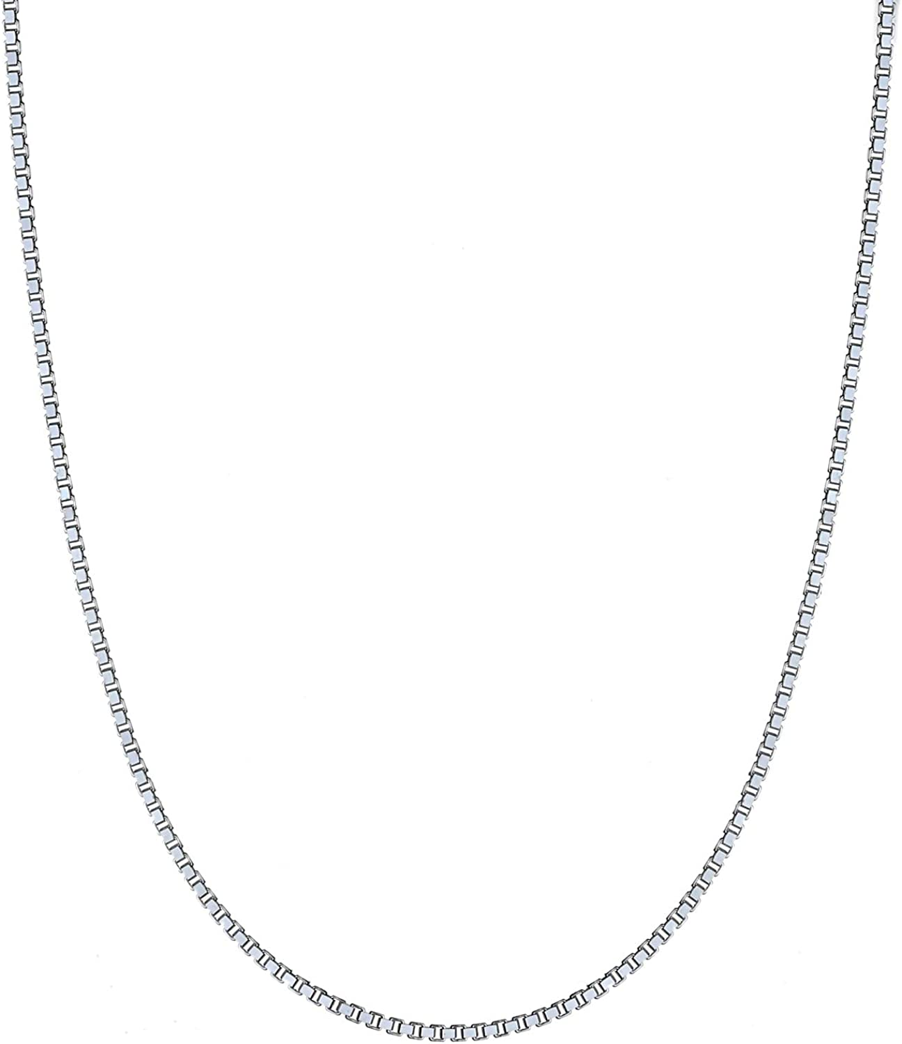 925 Sterling Silver 1.8mm 8 Sided Diamond-cut Box Chain Necklace 16-30