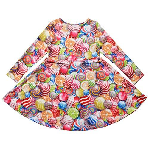 Print 3 Animal Desss 13 Sleeve Kid Girls Jxstar Cat Fall Floral Years Long Lollipop Yq8wWF