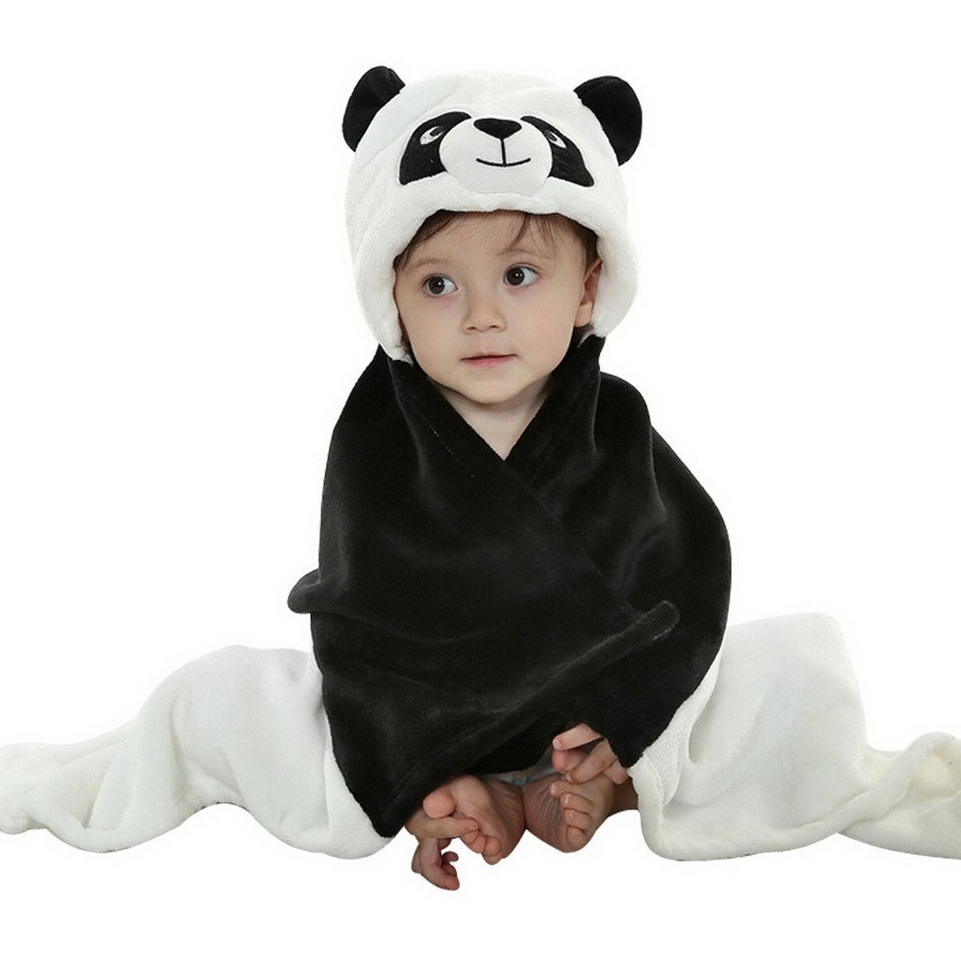 Feelme Baby Swaddle Wrap Infant Toddler Animal Bathrobe Fleece Towel Blanket with Hooded for Bath Pool Beach Shower Gift