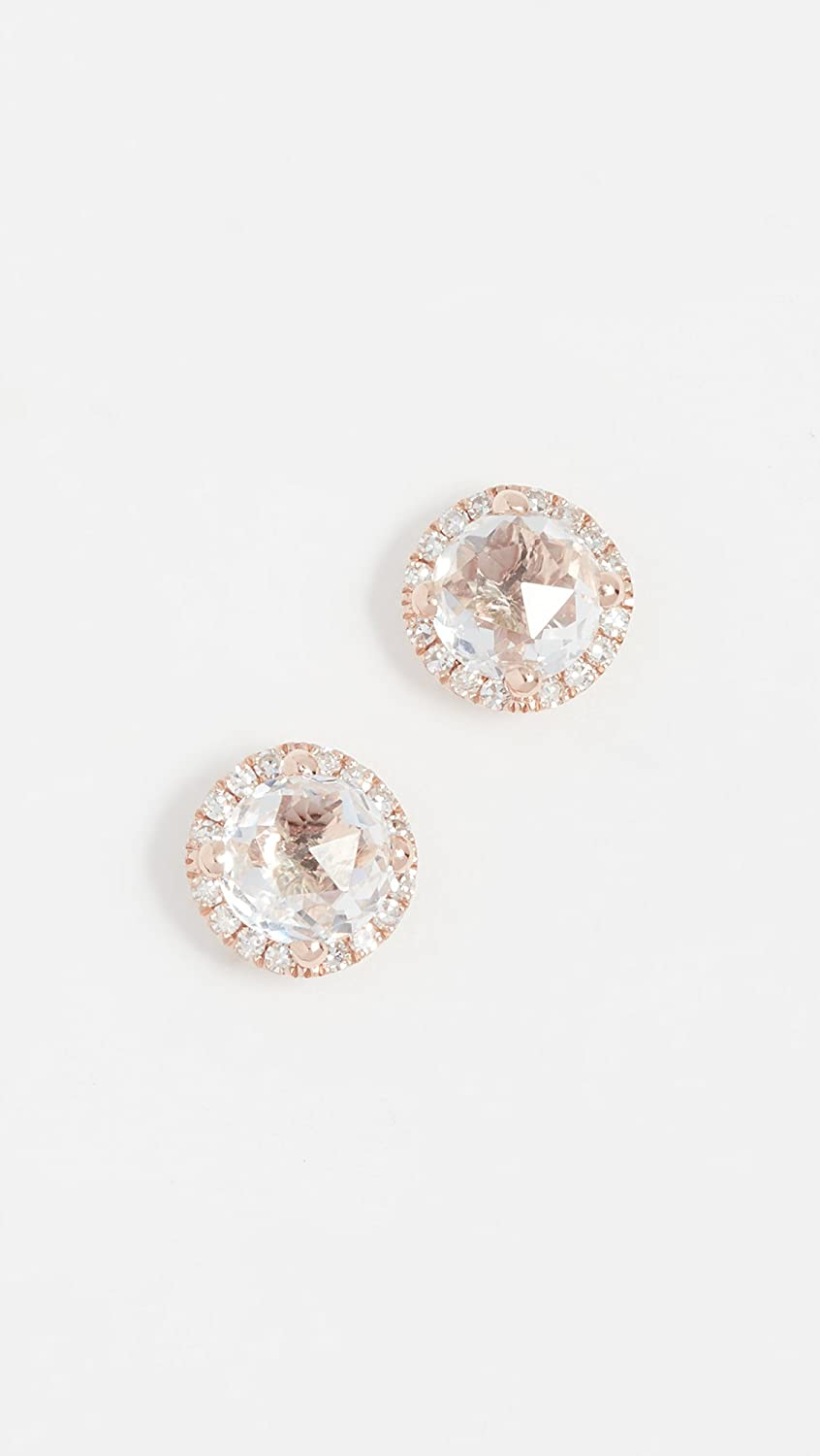 532b5a51e Amazon.com: EF Collection Women's Diamond White Topaz Stud Earrings, Clear/Rose  Gold, One Size: Jewelry