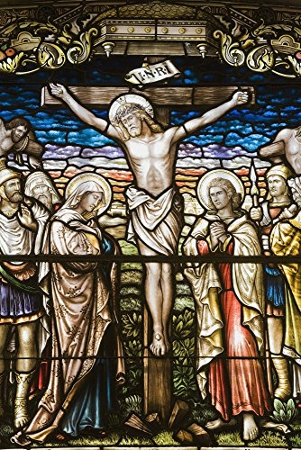 Stained Glass Window Depicting A Crucifixion In The Cathedral Of The Holy Trinity Quebec City Quebec Canada Poster Print by Perry Mastrovito Design Pics (22 x 34)