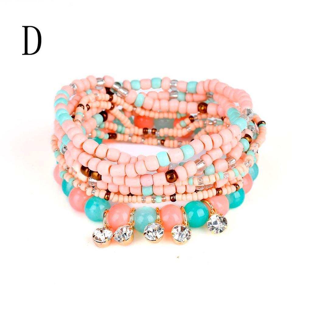 DENER Stretch Acrylic Beaded Bohemian Colorful Beads Tassel Bangle Florid Cool Handmade Bracelets