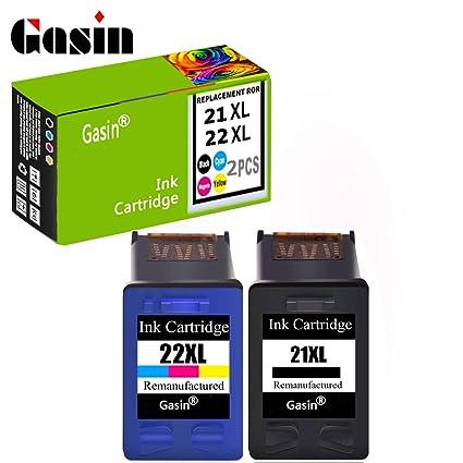 Gasin 2 pcs cartucho de tinta recargables para HP 21XL & 22 ...