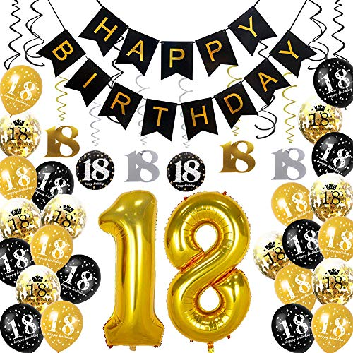 HankRobot 18th Birthday Decorations Party Supplies(42pack) Gold Number Balloon 18 Happy Birthday Banner Latex Balloons(Black, Golden) Confetti Balloons -Great for 18 Eighteen Years Old Birthday -