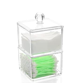 Clear Acrylic Q Tip Cotton Swabs Cotton Ball Storage Case   Dual Stacking  Boxes With