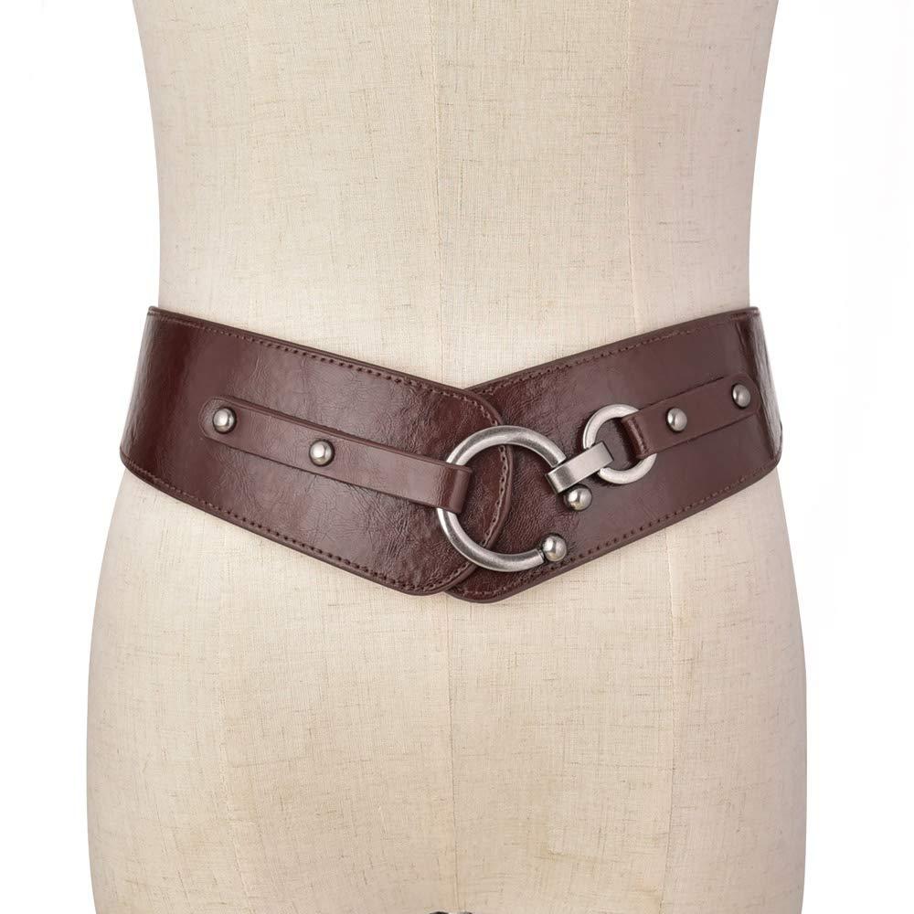 Retro Wide Metal Interlock Buckle Womens Elastic Waist Belt Cinch (Coffee 1, Suit Waist 34-38in)