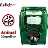 Belidan Animal Repellent Ultrasonic Outdoor Animal Repeller - Dog Cat Raccoon Repellent Skunk Repellent Mice Rats Repellent - Animal Deterrent Device Solar Powered - Motion Sensor, Alarm, LED lights