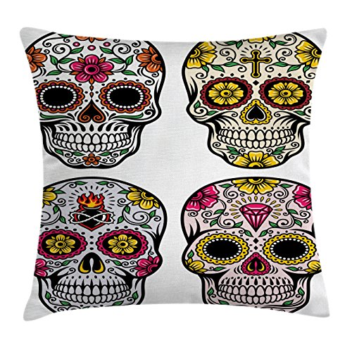 Day Of The Dead Decor Throw Pillow Cushion Cover by Ambesonne, Dia de Los Muertos Festive Celebration Skull Art Image, Decorative Square Accent Pillow Case, 18 X18 Inches, Yellow Pink Black White (Party City Dia De Los Muertos)