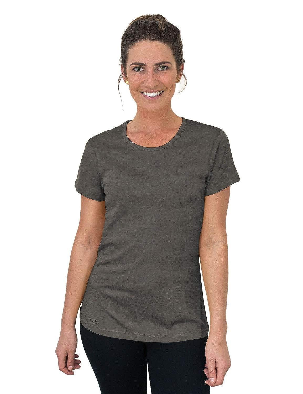 Graphite Heather Woolx Addie  Soft Lightweight Merino Wool Tee Eliminates Odor & Sweat