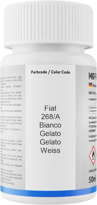 Mg Prime Autolack Lackstift Set Für Fiat 268 A Bianco Gelato Gelato Weiss Basislack Klarlack Je 50ml Auto