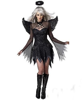 Disfraz de Hada de ángel Oscuro con alas y Falda Negra Vintage ...