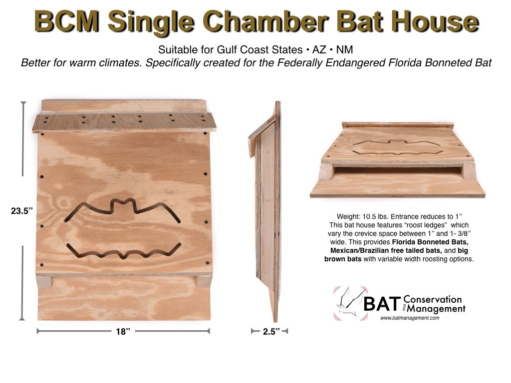 BCM Single Chamber Bat House | Gulf Coast Edition | Made in USA by Bat Conservation and Management (Image #5)