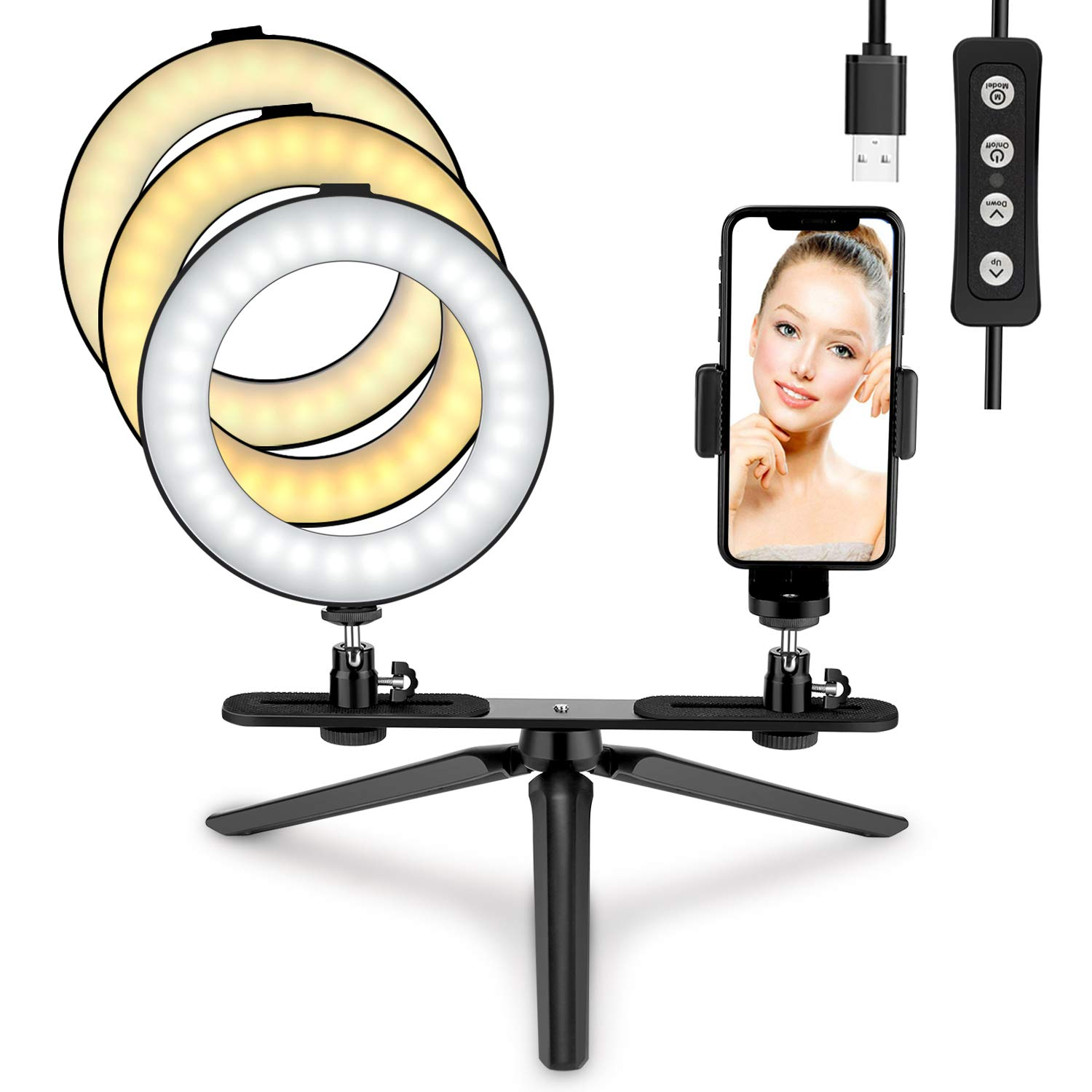 LED Ring Light 6'' with Tripod Stand & Phone Holder, Tenswall Mini LED Camera Ring Light, Desktop LED Lamp for Makeup/Live Stream/YouTube Video/Photography with 3 Light Modes & 11 Brightness Levels