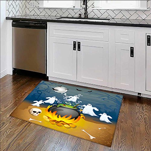 Stain Resistant Rug of ghost from cauldron in Halloween Background Non-Toxic, Non-Slip W35
