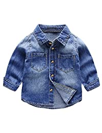 Evelin LEE Baby Boy's Denim Western Shirt Toddler Jean Tops Blouse