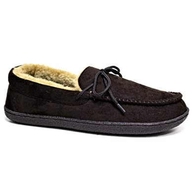 7359e07915d STAR DISTRIBUTORS Mens Moccasins Slippers Loafers Faux Suede Sheepskin Fur  Lined Winter Shoes Size  Amazon.co.uk  Shoes   Bags