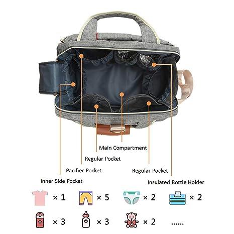 Multifunktionale Babytasche Baby Reise Tasche F/ür Mama und Papa ICEIVY Baby Tasche Wasserdicht Handtasche XXL Mit Extender Wickelunterlage und Verstellbaren Schultergurt Baby Wickeltasche Gro/ße