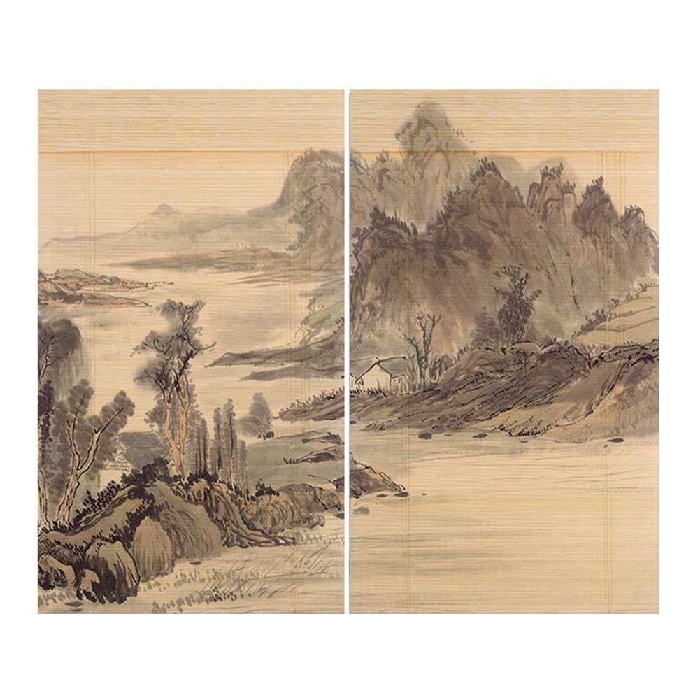 WUFENG 竹製カーテン シェード 絶縁 風景 印刷 ローラーブラインド 防塵 家庭 2個、 複数のサイズ カスタマイズ可能 (色 : A, サイズ さいず : 100x180cm) B07RKWVZWY A 100x180cm