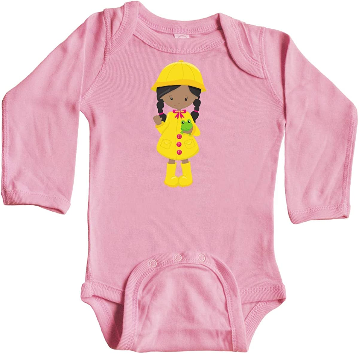 Frog Long Sleeve Creeper Yellow Raincoat inktastic African American Girl
