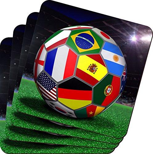 Rikki KnightTM Brazil World Cup 2014 All Team Flags Football Soccer Ball Design - Soft Square Beer Coasters (x4)