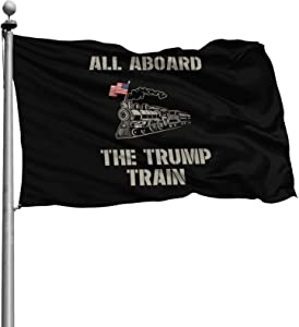 Opplsh Hdrejn All Aboard Trump Train Durable Polyester Home House Garden Flag Decorone Size