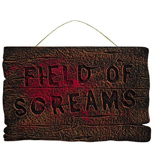 Spooky Halloween Signs (Field of Screams Halloween Party Wooded Hanging Sign Decoration, Foam, 14