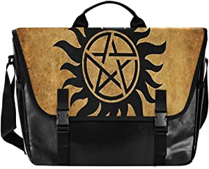 Supernatural Anti Possession Demon Devil's Trap Messenger Bag Canvas Laptop Shoulder Bag for Travel Work College for Men Women