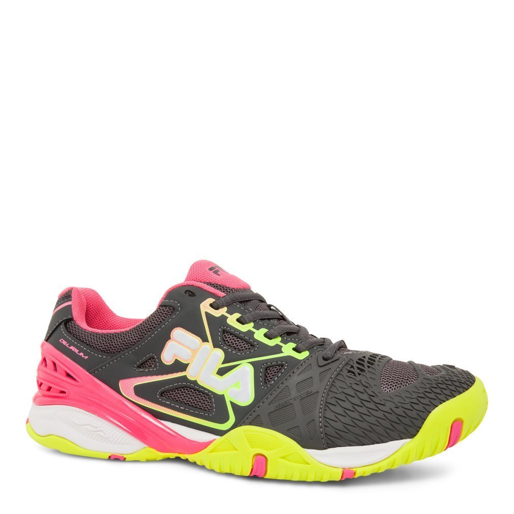 Fila Women's Cage Delirium Tennis Shoe (Dark Shadow/Safety Yellow/Knockout Pink) (9.5 B(M) US)