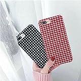 mixneer Creative Houndstooth teléfono celular Soft Shell Simple personalidad funda protectora para iphone X–Rojo–Patrón de Cuadros, Red - Plaid Pattern, iPhone 6/6S