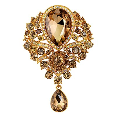 787f240c249 SANWOOD womem's Wedding Bridal Bouquet Clear Crystal Rhinestone Teardrop  Dangle Brooch Pin (Champagne)