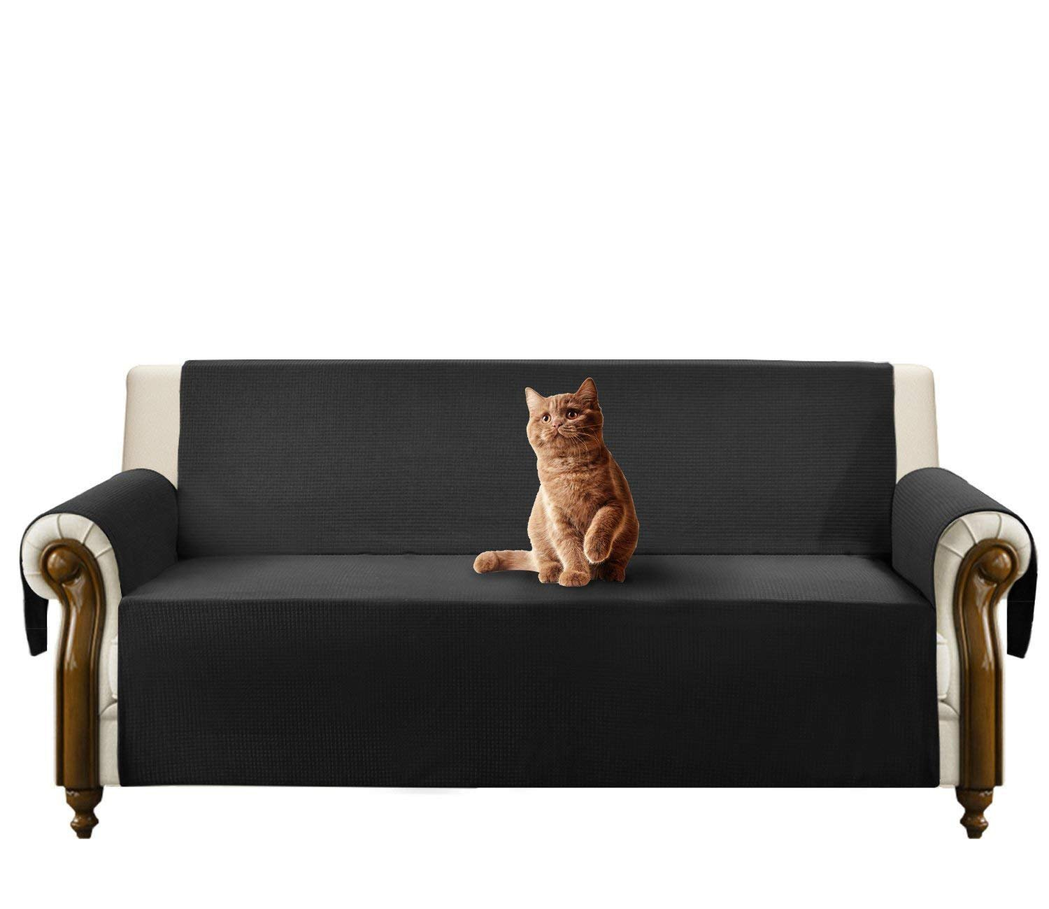JIATER Improved Non-Slip Pet Dog Sofa Slipcovers Living Room Couch Covers Furniture Protectors (Black, Loveseat)