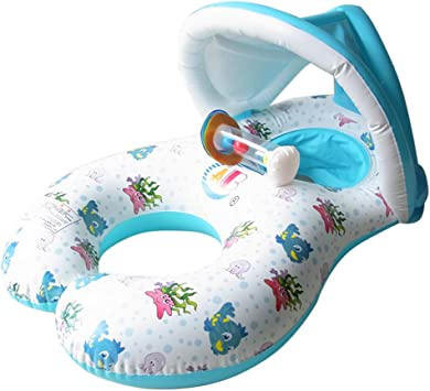 Madre y bebé nadar flota de seguridad inflable bebé piscina agua ...