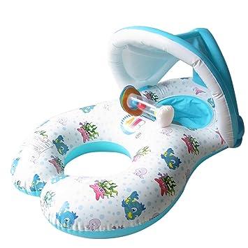 Madre y bebé nadar flota de seguridad inflable bebé piscina agua juguete asiento barco natación anillo con sol refugio Canopy doble persona padre-niño ...
