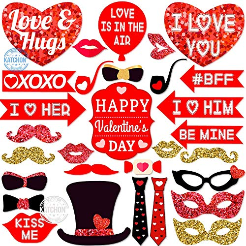 REAL RED and GOLD GLITTER Valentine Days Photo Booth Props - Valentines Day Decorations - Valentines Decorations for Home - Wedding Favor - Birthday Decor - Bachelorette Party Supplies, 30 Pack
