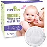 PureTree Organic Cotton Disposable Nursing Pads - for Breastfeeding (2 Boxes - 108 Pads)