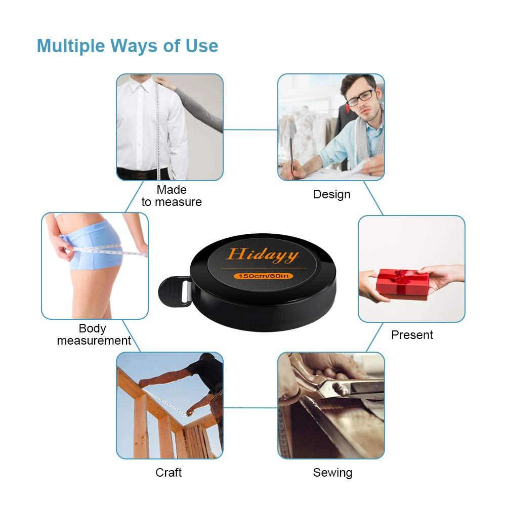 Premium Retractable 150cm//60in Dual Sided Measurements Tape by Hidayy 2PCS Tape Measure Measuring Tape for Sewing Body Tailor Fabric Cloth Craft Measurements