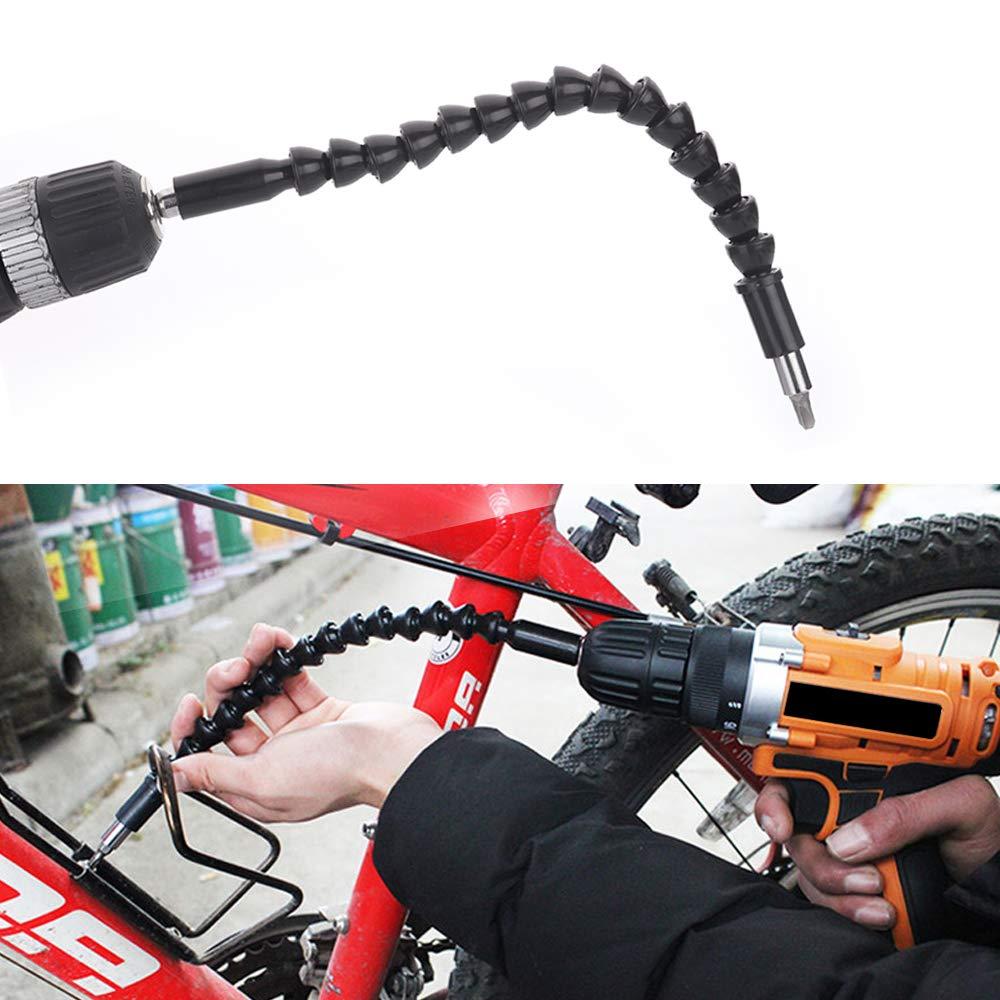 4 PC flexible Broca de Extensi/ón FineGood suave conexi/ón Taladro Destornillador adaptador extensi/ón del eje para Power Drill-Blcak Naranja