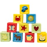 Squeeze and Stack Block Set- BPA Free and Soft Baby Building Blocks Toys (Set of 10) by LiangTing