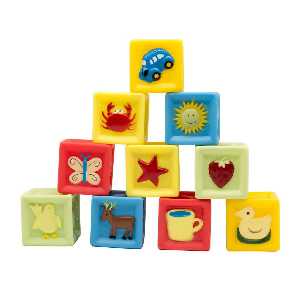 LiangTing Squeeze and Stack Block Set- BPA Free and Soft Baby Building Blocks Toys (Set of 10)