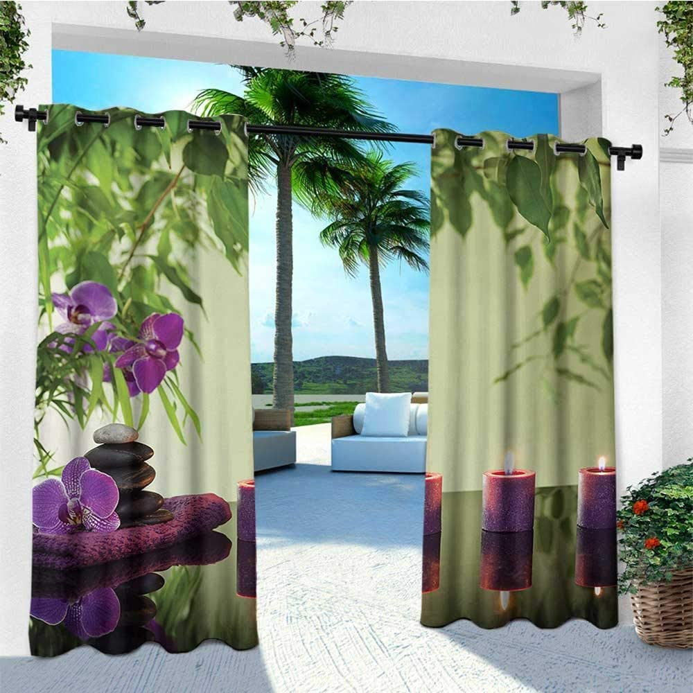 leinuoyi SPA, Corbatas de Cortina para Exteriores, Zen Stones Velas aromáticas y orquídeas con Tratamiento Floral, para Muebles de Patio W108 x L96 Pulgadas Helecho Verde púrpura pálido Verde: Amazon.es: Jardín