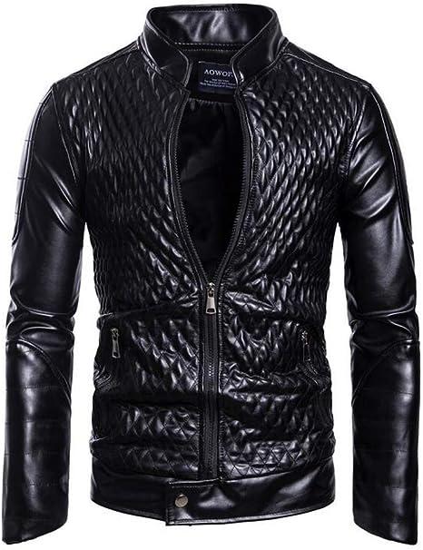 QOCE Giacca da Motociclista in Pelle PU da Uomo vestibilit/à Slim di Grandi Dimensioni per Moto Rock Punk,Cross Country