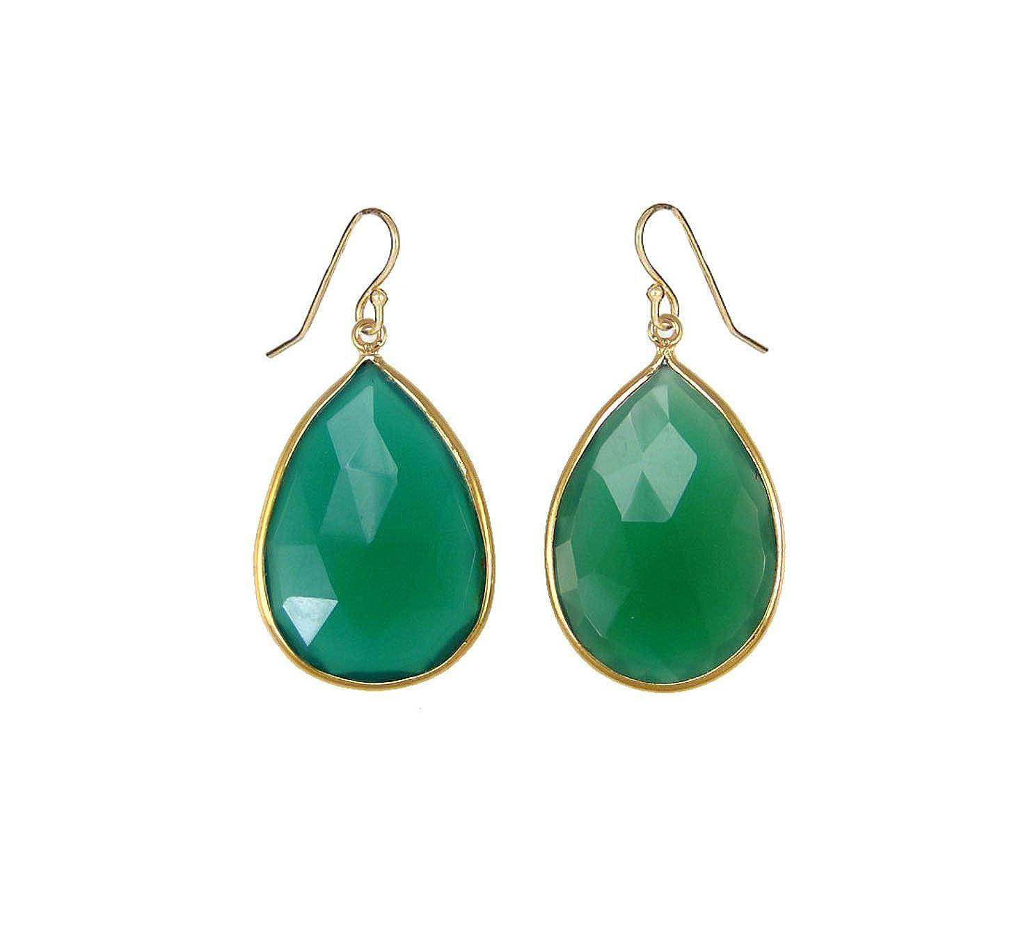SPARKLER JEWELS Green Onyx Pear,Gold Plated,925 Sterling Silver,Dangle Earrings,Handmade Earrings
