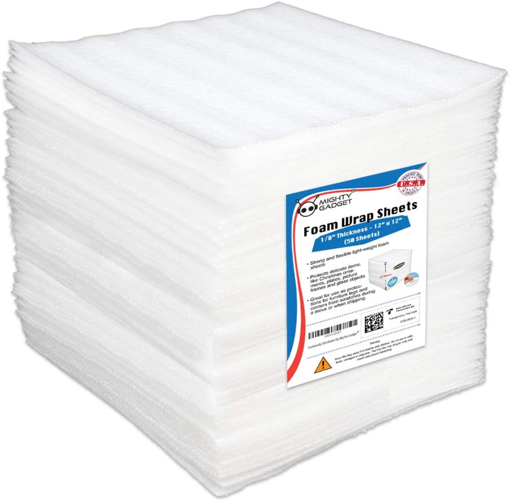 """50 Pack Mighty Gadget (R) 12"""" X 12"""" X 1/8"""" Moving Supplies Packing Foam Sheets (White): Office Products"""
