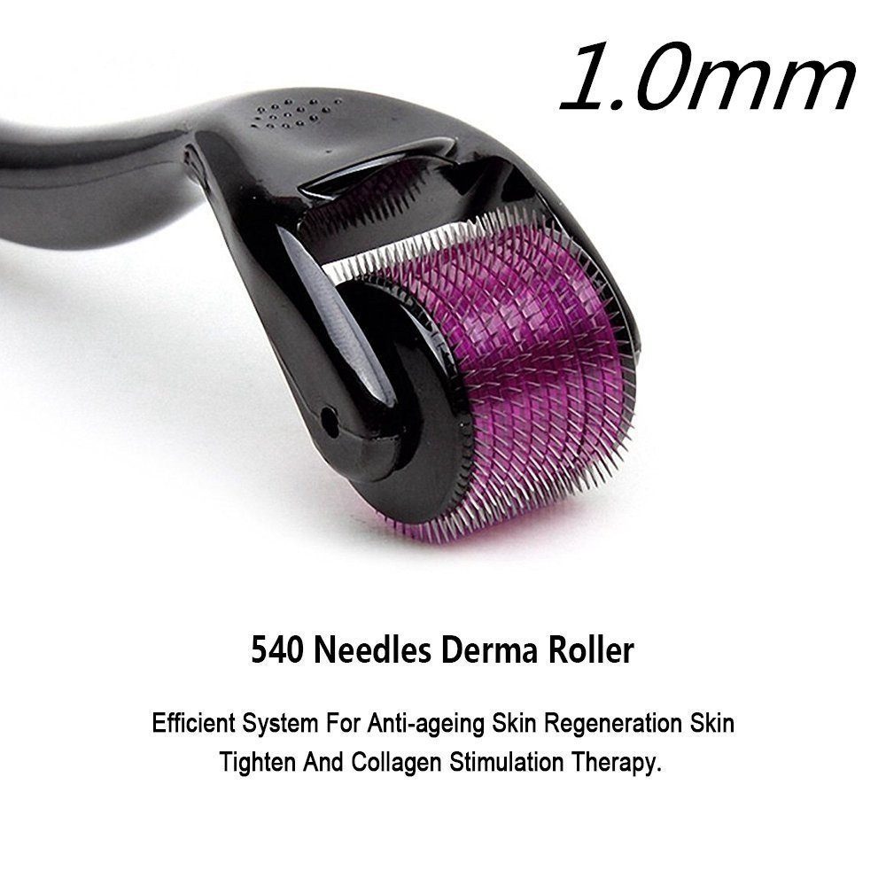 Derma Roller Cosmetic Microneedle Roller for Face, 540 1.0mm Titanium Microneedles- Home Use DermaRoller Kit, Micro Needles Facial Roller Includes Free Storage Case Made by Vansaile