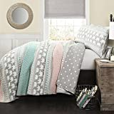 4 Piece Blue Pink Kids Animal Print Twin Quilt Set, Grey Pink Elephant Themed Bedding Geometric Horizontal Stripes Medallion Diamond Pattern Wild Life African Jungle Gray Polka Dot, Polyester