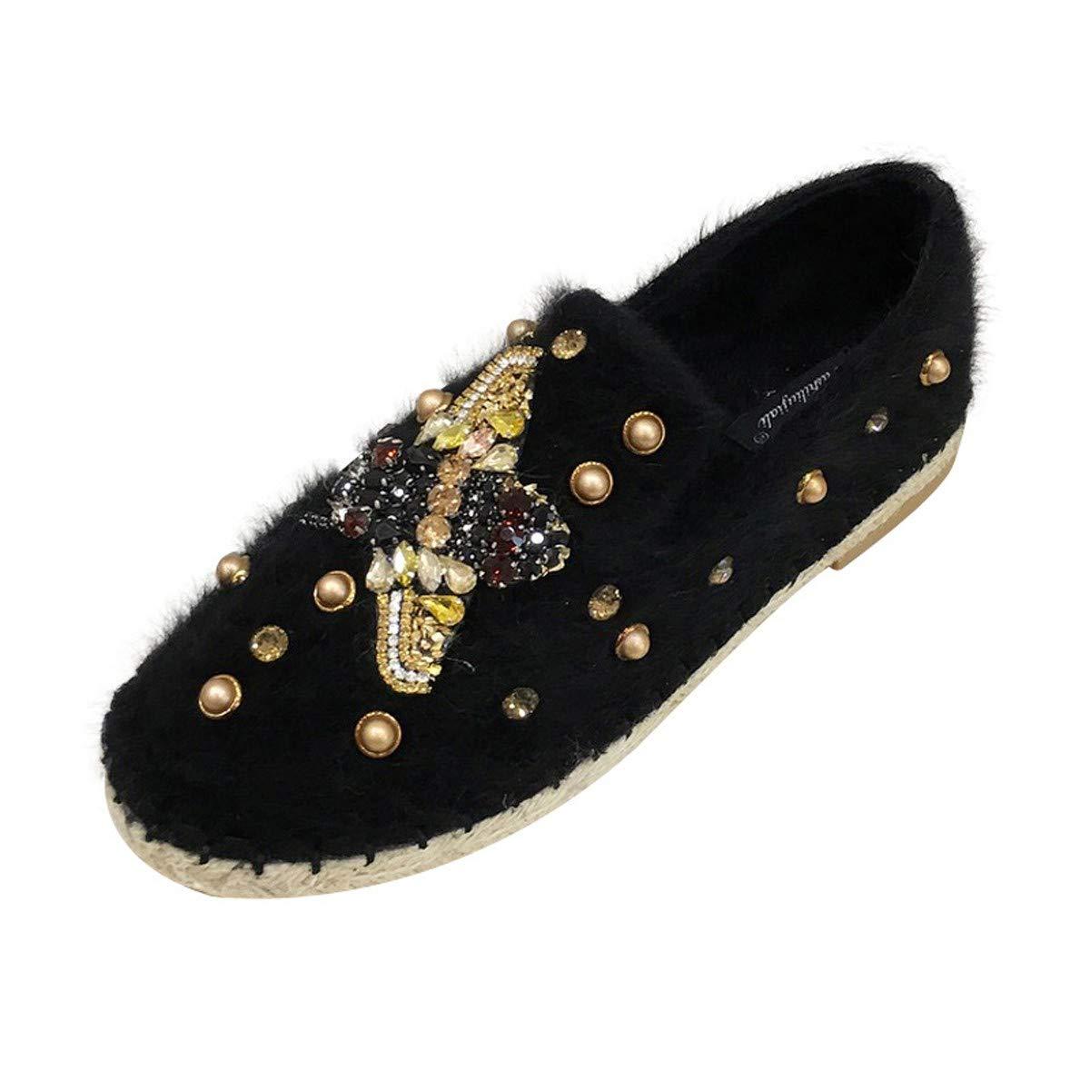 HBDLH Damenschuhe Flache Sohle Einzelne Schuhe Wasser Läuft Damenschuhe Flanell EIN Pedal Faul Schuhe