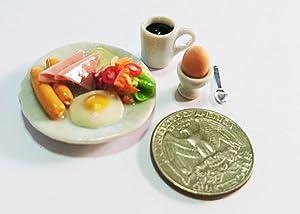Thai Breakfast Egg & Coffee Dollhouse Miniature Food,Tiny Food, Doll Collectibles, Doll Food