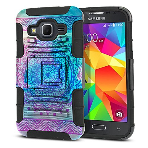 FINCIBO Case Compatible with Samsung Galaxy Core Prime G360 Prevail LTE, Dual Layer Hybrid Curve Rigid Armor Heavy Duty Protector Case Cover Stand Soft TPU For Galaxy Core Prime G360 - Unicorn Mandala