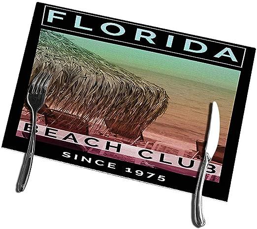 Juego de manteles individuales para mesa de comedor de 6 tapetes de cocina Florida Beach Club 12 X18: Amazon.es: Hogar