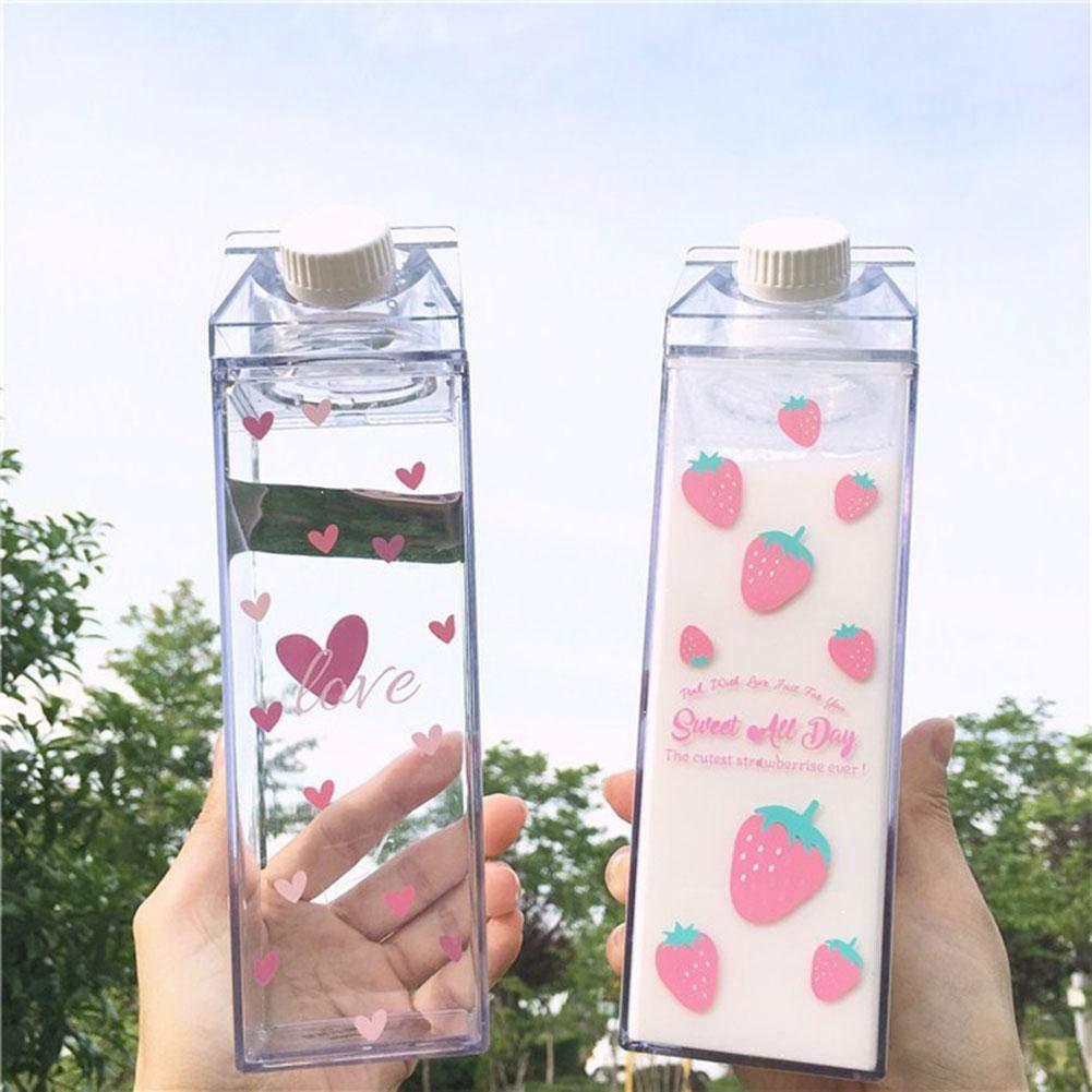 cedarfiny Sakura Milchbecher Tragbare Wasserflasche Milchaufbewahrung Sakura-Print Erdbeer-Print Sportgetr/änk Klare Tasse Milchbox Quadratische Tasse F/ür das B/üro zu Hause top sale